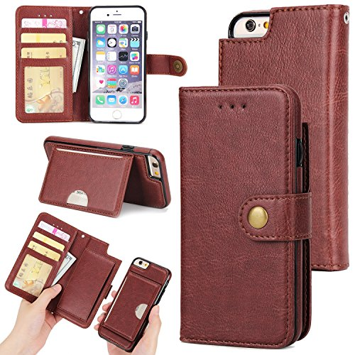 JIALUN-Telefon Fall Stylish 2 in 1 abnehmbare Premium PU Leder Ständer Case Cover mit Magnetniet Verschluss & Card Slots für iPhone 6 Plus & 6s Plus ( Color : Red ) Brown