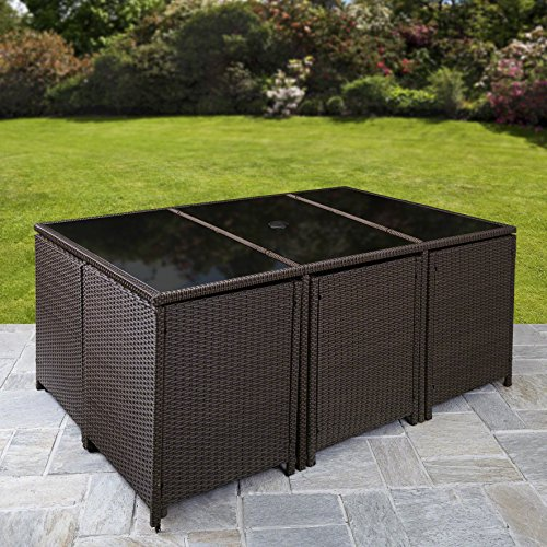 Bella Life 11 Piece/10 Seater | PE Rattan Cube Table, Chair, Stool Set | Garden Furniture (no parasol, Brown)