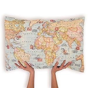 Cojín Mapa. Mapamundi, Mundo Entero. Funda Cojín suelo o sofá. Funda grande mapa multicolor.