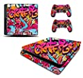 Graffiti Hip Hop Sticker/Skin PS4 slim / Sony Playstation 4 Slim Console & Remote controller stickers, pss13 by the grafix studio