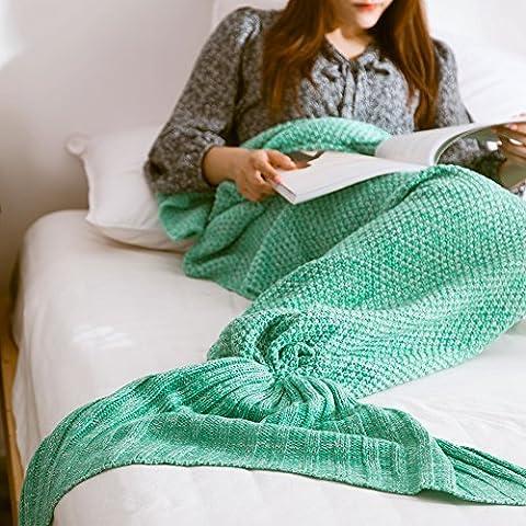 Mermaid Schwanz Decke handgefertigt Weich Schlafsack Häkeln Stricken Wohnzimmer Decke Alle Jahreszeiten beste Mode Geburtstag Weihnachten Geschenk Sofa Snuggle Teppich 190x90cm (Mermaid Gamaschen Kostüm)