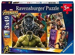 Ravensburger Rompecabezas Personajes de Los Vengadores de Marvel de la película Infinity War, 3 Rompecabezas de 49 Piezas Cada uno
