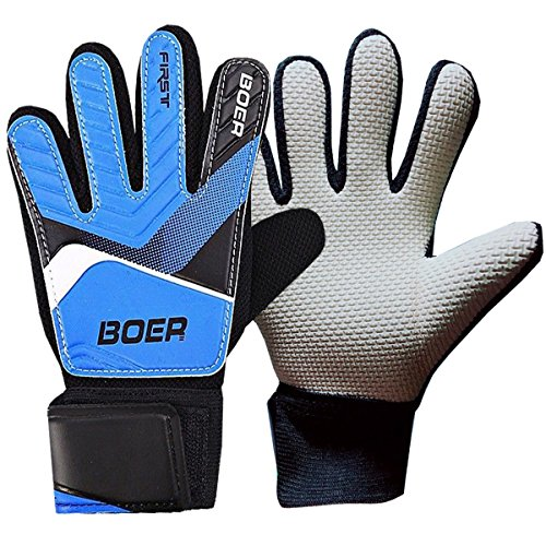 Torwarthandschuhe für Jugendliche, Kinder (# 5- # 7) Handschuh Fingerschutz Schutzstacheln, 3 mm starker Griff Deutscher Latexhandschuh, Stützhandschlaufen, sicher und bequem (Size 6, Blue)
