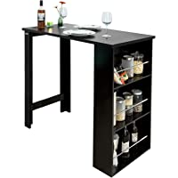 SoBuy FWT17-Sch Table de Bar Mange-Debout Table Haute de Cuisine avec 3 étagères de Rangement – Noir Dimensions : 112 x…