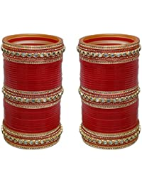 Lucky Jewellery Red Designer Chura Bridal Dulhan Punjabi Choora Fashion Jewellery Chuda Set (941-M1C1-LOVKUSH-R)