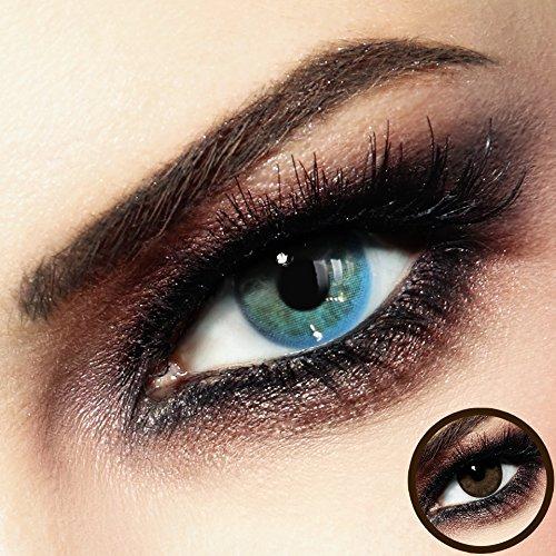 Lenti a contatto colorate premium - calypso, blu-beige - in silicone idrogel - lenti mensili di luxdelux® - no. 9