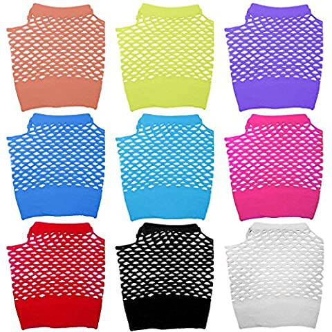 9 paires assortiment couleurs adultes court Diva Fingerless gants de poignet résille pour Punk Parties accessoires de costumes des années