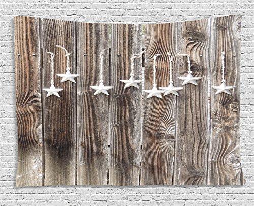 Primitiv Country Decor Gobelin von ambesonne,-Kunstvoller Sterne auf Holz rustikal Zaun Kabine Print zum Aufhängen, für Schlafzimmer Wohnzimmer Wohnheim, braun silber, Textil, Multi 1, 60