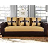 Furny Lifestyle 3 Seater Sofa with Cup Holder & Puffed Armrest (Beige-Brown)
