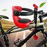 Acelectronic Fahrrad Sicherheits-Kindersitz, Kindersitz vorn für Damen u. Herrenfahrrad, Baby Fahrrad Sitz, Rot+Schwarz (von 8 Monaten bis 5 Jahren)