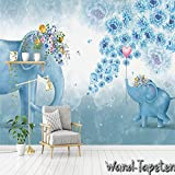 Fleece Photo Wallpaper – Wall Mural Hand Painted Elephant Wall Picture Flower KN 1865, XS 150cm(B) x 105cm(H) 3-Bahne