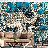 decomonkey | Fototapete Mandala Krake 350x256 cm XL | Tapete | Wandbild | Wandbild | Bild | Fototapete | Tapeten | Wandtapete | Wanddeko | Wandtapete | Orient Muster Zen blau braun beige | FOA0081a73XL