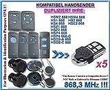 5 X Hörmann HSM2 / HSM4 / HS1 / HS2 / HS4 / HSE2 / HSD2-A / HSD2-C / HSP4 / HSP4-C / HSZ1 / HSZ2 kompatibel handsender, klone fernbedienung, 4-kanal 868.3Mhz fixed code. Top Qualität Kopiergerät!!! 3 Stücke für den besten Preis!!! (Nicht kompatibel mit BS BiSecur fernbedienungen)