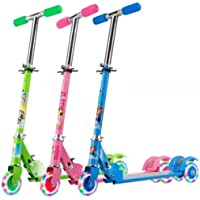 Quasar Kick Scooter for Kids | 3 Wheeler Foldable Kick Skating Cycle with Brake and Bell, LED on Wheels and Height…
