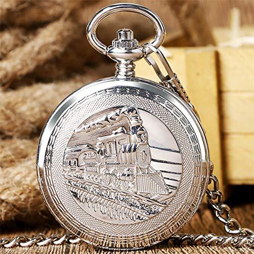 VIOPEX Taschenuhr Antike Gold/Silber/Bronze Steampunk Zug mechanische Taschenuhr Automatik römische Ziffern Display sammeln Retro hängende Cl, Silber
