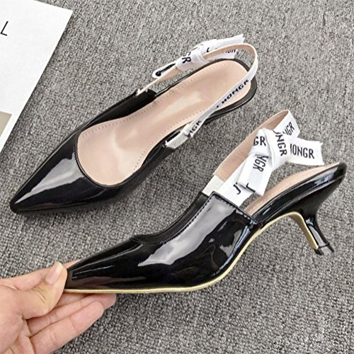 Hochhackige weibliche Katze Brief Bogen Schuhe mit dünnen Fersen zeigten in Baotou Sandalen weibliche Sommer Black Leather