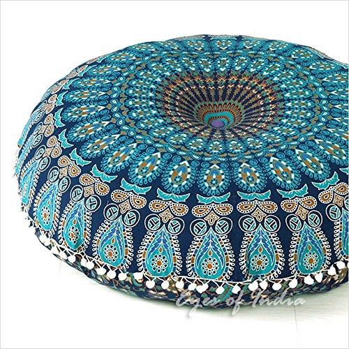 Eyes of India 32' mandala Cojín de suelo Asiento Cojín Manta tapa hippie Decorativo Boho bohemio indio - Azul Oscuro #1