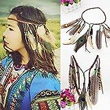Simsly - Fascia per capelli con piume di pavone in stile indiano, travestimento vintage, stile bohémien e hippy, regolabile, accessorio per capelli per donne e ragazze