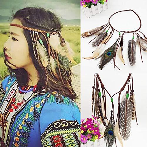 Simsly Pfauenfeder Stirnband indischer Kopfschmuck - Boho Vintage Kopfbedeckung Hippie Fancy Masquerade Verstellbares Haarband für Frauen Mädchen Haarschmuck
