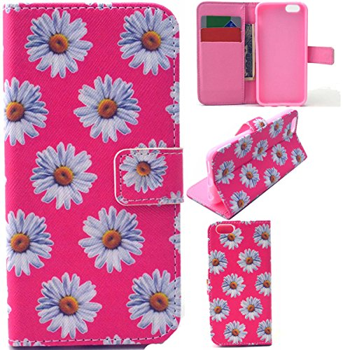 iPhone 6 Coque, iPhone 6S Coque, Lifeturt [ Loup Dreamcatcher ] Coque Dragonne Portefeuille PU Cuir Etui en Cuir Folio Housse, Leather Case Wallet Flip Protective Cover Protector, Etui de Protection P E02-Belle chrysanthème fleurit2243