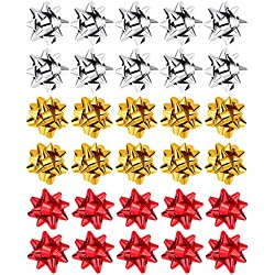 30 Piezas de Lazos Metálicos de Navidad Juego de Lazos de Embalaje de Regalo Brillantes para Navidad Boda Decoración de Fiesta Envoltorio de Regalo, 3 Colores