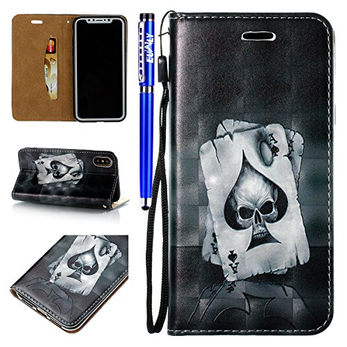 EUWLY Cover Custodia Per iPhone X,With Lanyard Protettiva PU Leather Custodia Case 3D Dipinto Modello Moda Creativa Disegno Pelle Custodia Cover Folio Stand Flip Slot Protectiva Leather Cover Ultra So Scheletro Carta