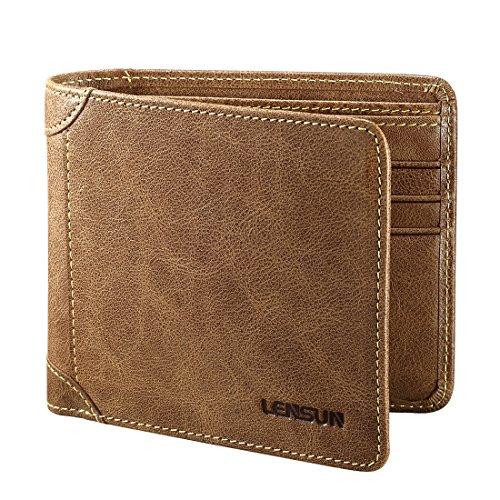 Herren Leder Geldbörse, Lensun Echte Rindsleder Portemonnaie für Männer, als Geschenk verpackt, Kaffee (QB-LZH-CE)