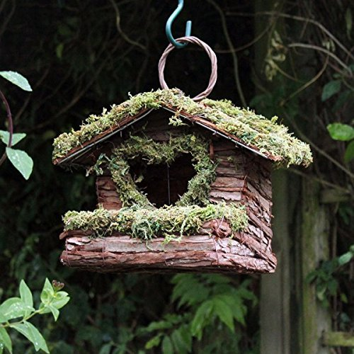 Bush Holz Liebe Herz Wild Vogel Garten Nistkasten Rustikale Holz Rinde Kleine Vögel