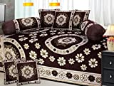 """Fresh From Loom Premium Quality 500 TC 100 % Chenille Velvet Diwan Set- 8pc set in Coffee, Multi-Color Covers, Premium quality and luxury look New Desgin, Diwan Cover with Attractive Colour and Floral Design along with Pillow Covers, Exclusive Design, Easy to clean, Attractive Prints, Extraordinary Velvet Diwan Cover, Thick Anti Wrinkle Material, Heavy fabric wont Fly or fall under the Fan, Latest Floral Design Cotton, Perfect Deal Velvet Diwan set"""
