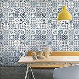 Grandeco Porto Blumen Muster Tapete Barock Motiv Küche Badezimmer - Blau A22903