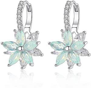 Orecchini donna Orecchini in argento sterling con zircone a forma di fiore Orecchini a clip in cristallo per donne Ragazze 3A Orecchini in zircone donna