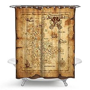 """kisy tesoro pirata mapa impermeable cortina de ducha de baño retro oro secreto náutico navegación mapa del mundo baño cortina de ducha tamaño estándar 70""""x 70,"""" vintage"""