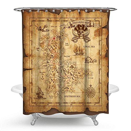 kisy Pirat Schatzkarte Wasserdicht Bad Duschvorhang Retro Gold Secret mit nautischem Weltkarte Badezimmer Dusche Vorhang Standard Größe 177,8x 177,8cm Vintage