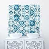 Traditional Tile Stickers Transfers for Kitchen, Bathroom and Furniture DIY (Pack of 70, Blues) - Wall Genie - amazon.co.uk