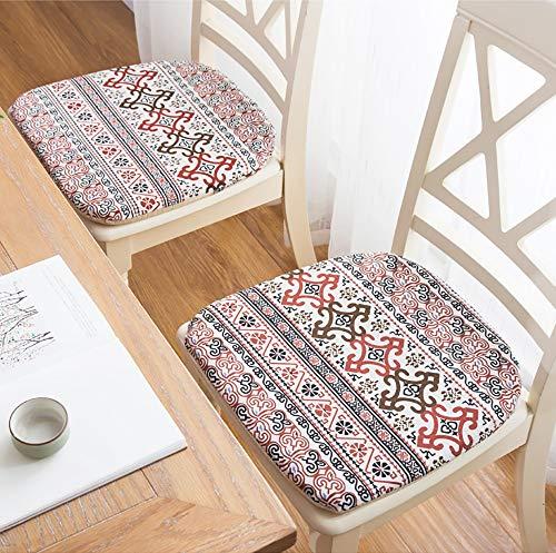 HWJ 6er-Set Sitzkissen Stuhlkissen 40x42cm aus Baumwolle und Leinen Sitzkissen,für den Innenbereich im Innenbereich Wohnzimmer Patio Garden Office Shop (Patio-stuhl-seat-kissen-set)