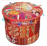 Stylo Culture Puff Sitz Vintage Cover rot ethnische Bestickt Patchwork Baumwolle traditionelle Runde Stoff Hocker Ottoman Cover (16x16x13 Zoll) 40 cm
