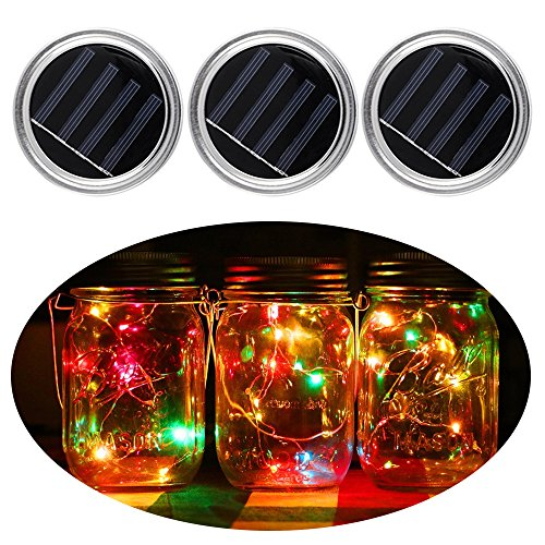 3 Pack Mason Jar Lids with Lights Solar Mason Jar Decor Lid Insert LED String Fairy Lights for Garden Deck Patio Party Wedding Christmas Decorative Lighting Multicolor