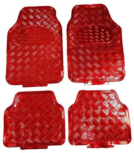Universelle Passform für 4Stück Heavy Duty rot Look Legierung Checker Plate Aluminium Effekt Vorne & Hinten Auto rutschfest Bodenmatten inkl. gestylt Schlüsselanhänger