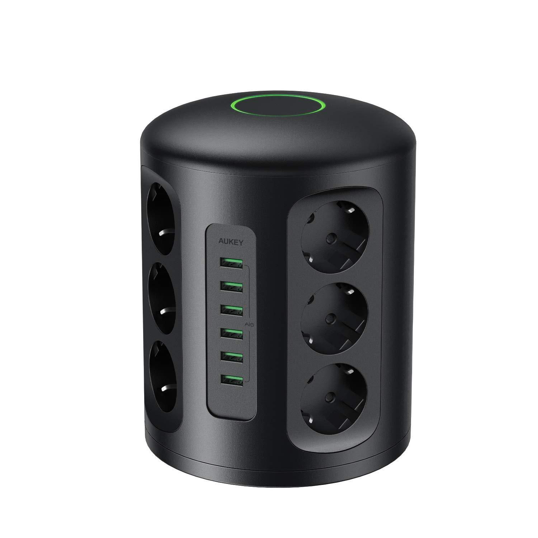 AUKEY Tour Multiprise Parasurtenseur Parafoudre avec Protection Parafoudre 6 Ports de Charge USB et 12 Prises Secteur avec Cordon de 2m Protection jusqu/à 1500 Joules