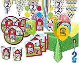 XXL 76 Teile 2. Geburtstag Bauernhof Party Set 8 Personen