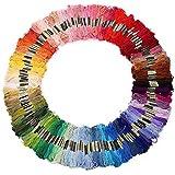 Gosear 100 Madejas de Cruz Puntada Hilos Bordado Seda Poliester Coser Hilos Arte Suministros,Color Aleatorio Color Mezclado