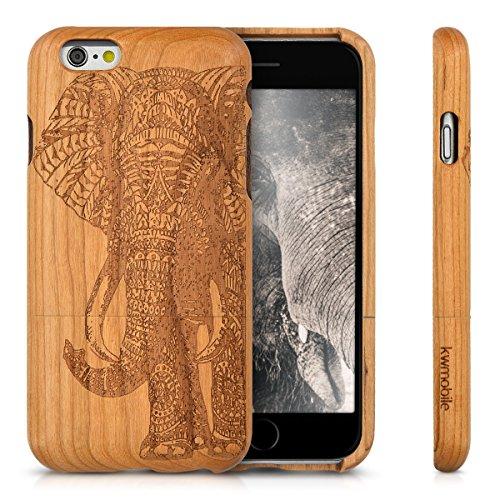 kwmobile Hülle für Apple iPhone 6 / 6S - Rosenholz Case Handy Schutzhülle - Hardcase Cover Indische Sonne Design Dunkelbraun Elefantenmuster Braun