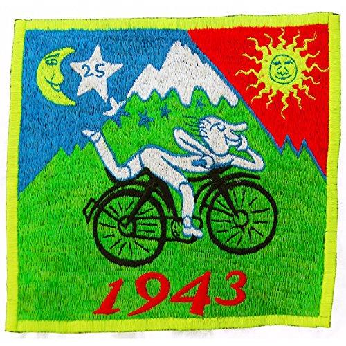 ImZauberwald Hofmann LSD Bicycle Day Aufnäher original (Schwarzlicht aktiv, handgestickt ohne PC) psychedelic acid patch psy trance goa hippie blacklight glowing Albert Hofmann 1943 -