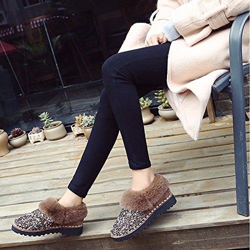 56d1270c45d ... Hsxz Femmes Chaussures Nubuck Pu Daim Cuir Automne Hiver Confort Bottes  De Neige Talon Plat Bottes ...