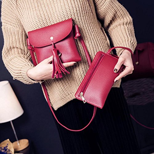 Koly_Le donne di modo della borsa dei sacchetti di spalla Quattro pezzi Borsa Crossbody Rosso