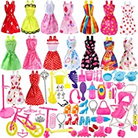 Total 114pcs - 16 Pack Clothes Party Gown Outfits for barbie dolls+ 98pcs Dolls Accessories Shoes Bags Necklace Mirror Hanger Tableware