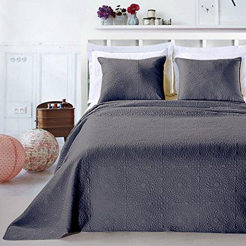 DecoKing 12758 Tagesdecke 220 x 240 cm graphit stahl mit 2 Kissenbezügen 50x60 cm Bettüberwurf Pflanzen pflegeleicht Elodie
