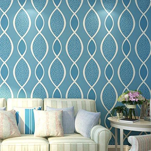 Moderne Tapeten Wellenmuster Einfach Vlies Gepragte Wohnzimmer Schlafzimmer Restaurantlightblue Onesize
