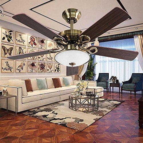 SXJCC Deckenventilator Haushalt Deckenventilator Doppellampe Wohnzimmer Retro LED Mute Lüfter Kronleuchter 42 Kleine Klinge Deckenventilator