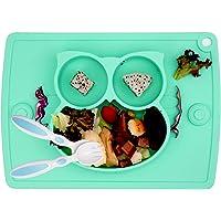 Piatto per bambini in silicone, Tappetini Antiscivolo con forte aspirazione adatta FDA e BPA Portatile per seggiolone e…